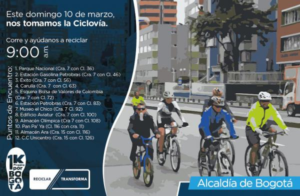 Corre, recoge y recicla. ¡Te esperamos este 10 de marzo en la ciclovía!
