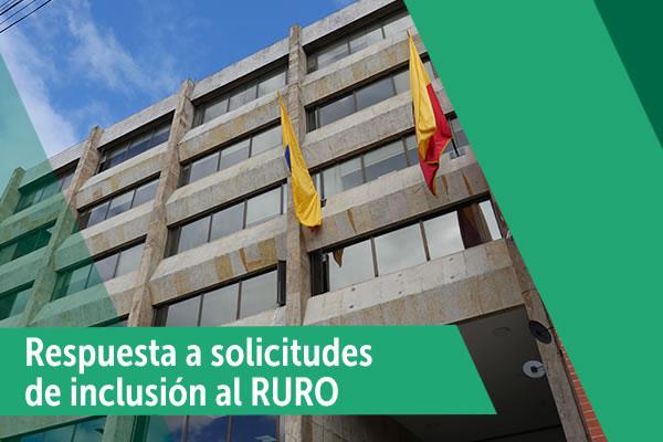 Respuesta de solicitud de inclusión al RURO
