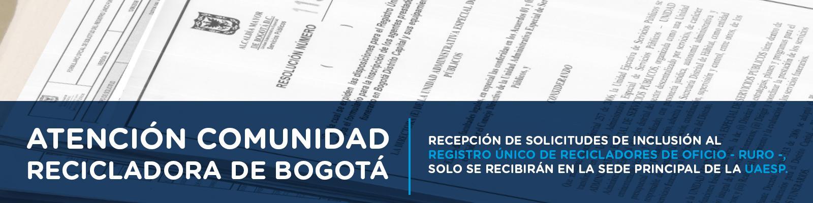 Recepción solicitudes registro único de recicladores